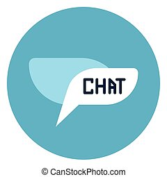 Chat Bubble Icon Web Button On Round Blue Background