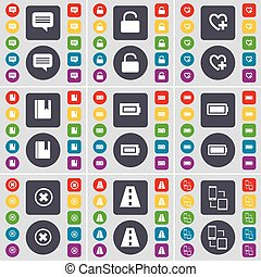 Chat bubble, Lock, Heart, Dictionary, Battery, Stop, Road, Connection icon symbol. A large set of flat, colored buttons for your design. Vector