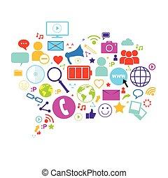 Chat Bubble Social Media Communication Concept Internet Network Icons Set Connection