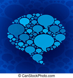 Chat bubble symbol on blue background