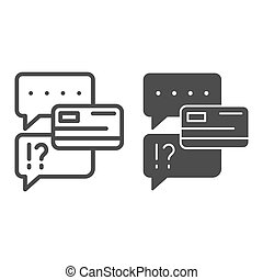 Chat bubble with credit card line and glyph icon. Dialogue ...