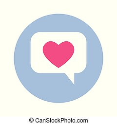 Chat Bubble With Heart Icon On Blue Round Background Isolated