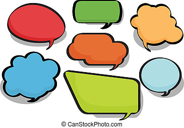 Chat bubbles in a variety of circular, bubble and rectangular styles