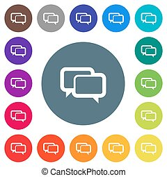 Chat bubbles flat white icons on round color backgrounds. 17 background color variations are included.