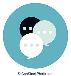Chat Bubbles Icon On Round Blue Background