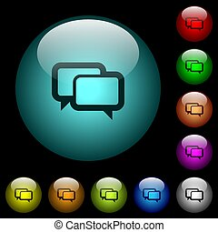Chat bubbles icons in color illuminated glass buttons