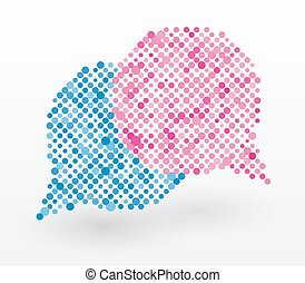 chat bubbles in blue and pink color