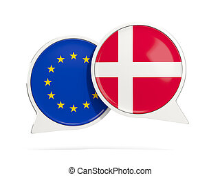 Chat bubbles of EU and Denmark isolated on white. 3D...