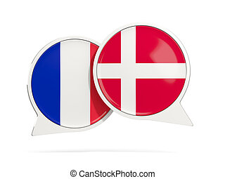 Chat bubbles of France and Denmark isolated on white. 3D...