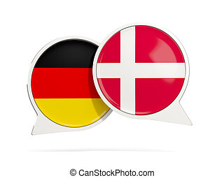 Chat bubbles of Germany and Denmark isolated on white. 3D...