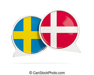 Chat bubbles of Sweden and Denmark isolated on white. 3D...