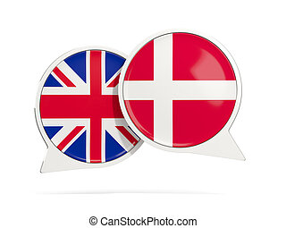 Chat bubbles of UK and Denmark isolated on white. 3D...