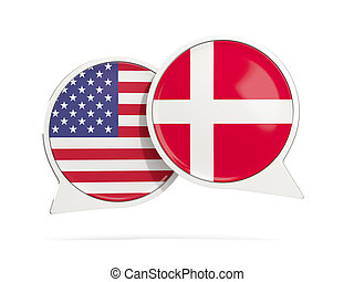 Chat bubbles of USA and Denmark isolated on white. 3D...