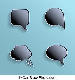 Chat bubbles - paper cut design. Black color on marine background.