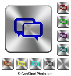 Chat bubbles rounded square steel buttons