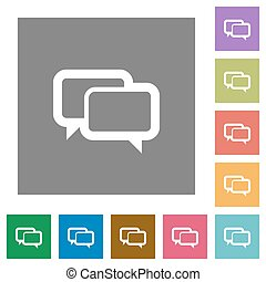 Chat bubbles square flat icons
