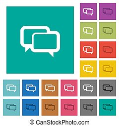 Chat bubbles square flat multi colored icons