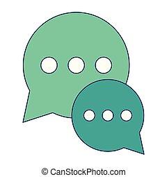Chat bubbles symbol blue lines