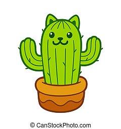 chat, cactus, mignon