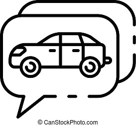 Chat car share icon, outline style