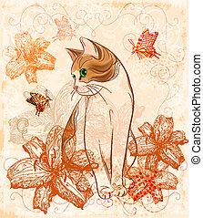 chat, carte, anniversaire, vendange, lilies.