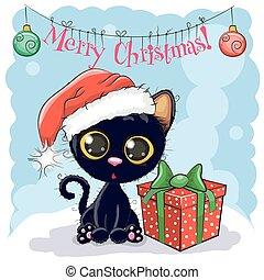 chat, chapeau, noir, santa