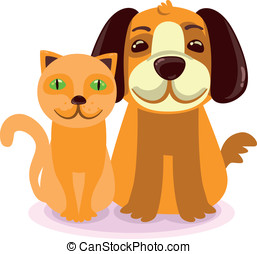 chat, chien, amical
