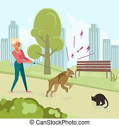 chat, chien, attaques, noir