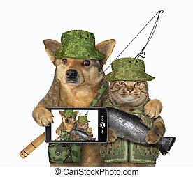 chat, chien, fish, attrapé