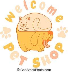 chat, chien, logo
