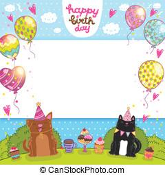chat, chien, petit gâteau, carte anniversaire, heureux