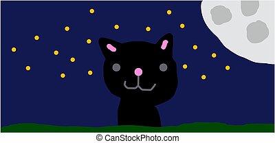 chat, ciel nuit, dessin animé, lune
