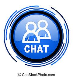 chat circle blue glossy icon
