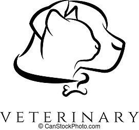 chat, clinique, gabarit, logo, dog., vétérinaire, vecteur