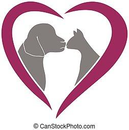 chat, coeur, amour, logo, vecteur, chien