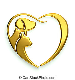 chat, coeur, amour, or, chien