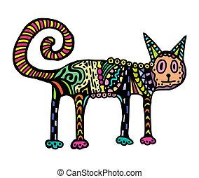 chat, coloré