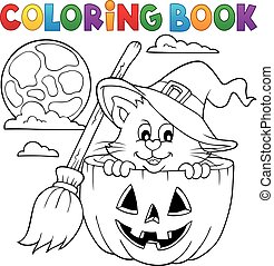 chat, coloration, halloween, livre