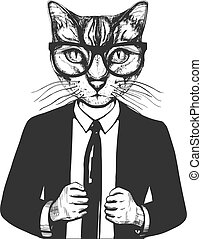 chat, complet, lunettes