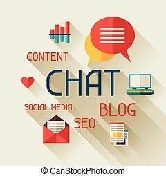 Chat concept illustration in flat design style
