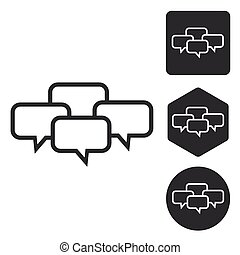 Chat conference icon set, monochrome
