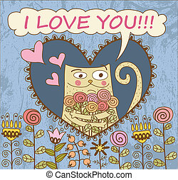 chat, couler, card., jour, valentine