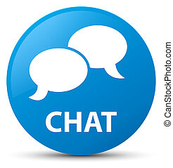 Chat cyan blue round button