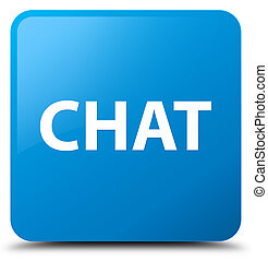 Chat cyan blue square button