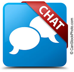 Chat cyan blue square button red ribbon in corner