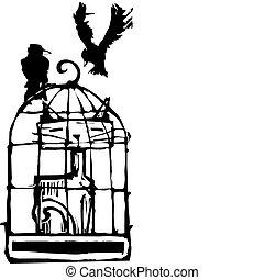 chat, dans, cage d'oiseaux, #1