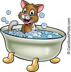 chat, dessin animé, bain
