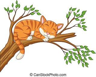 chat, dessin animé, branche, dormir