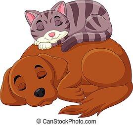 chat, dessin animé, chien, dormir