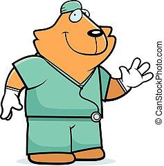 chat, dessin animé, docteur
